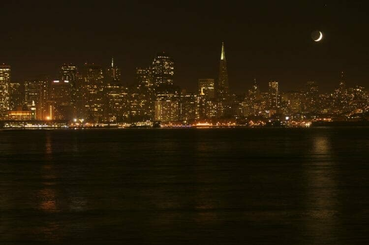 San Francisco Nightscape with Moon