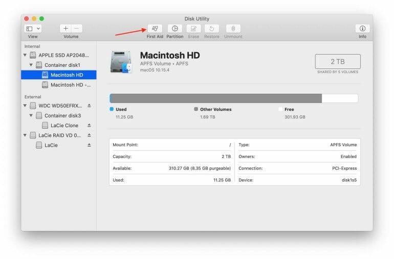 Disk Utility - macOS 10.15 Catalina