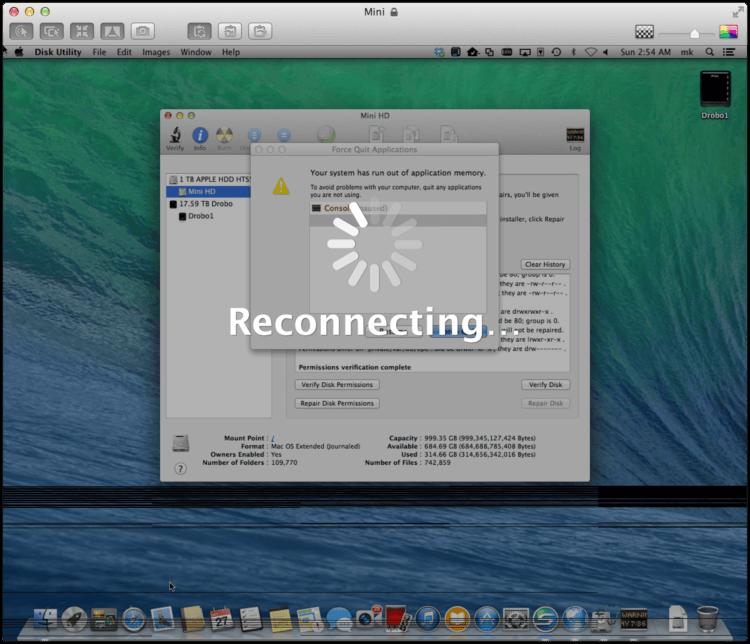 OS X Mavericks bug: Your system has run out of application memory