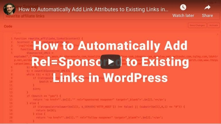 How to automatically add link attributes in WordPress