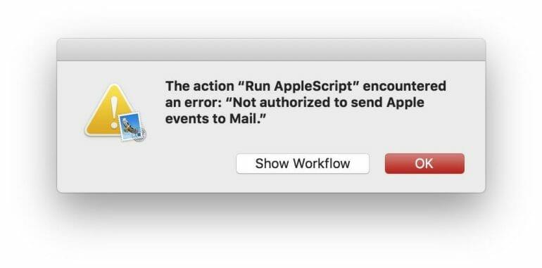 Apple Script issue on macOS 10.14 Mojave (Beta)