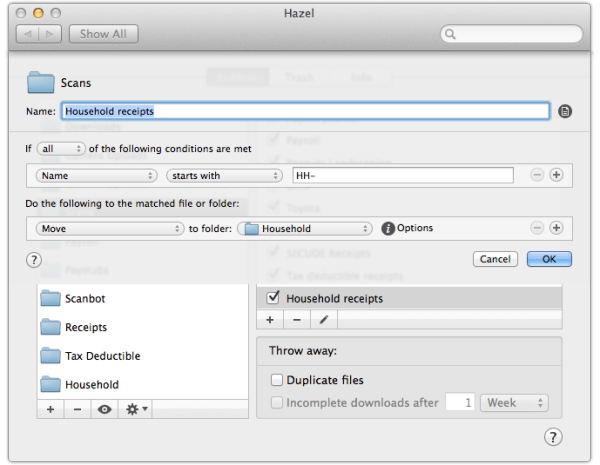 Rules to move files with HH-prefix into Household folder