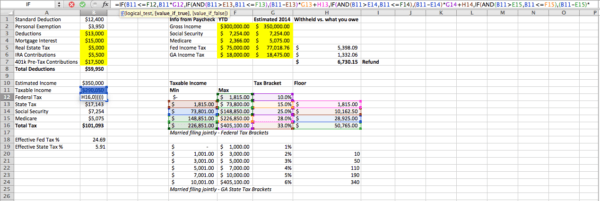 Excel Formula to Calculate Tax Projections