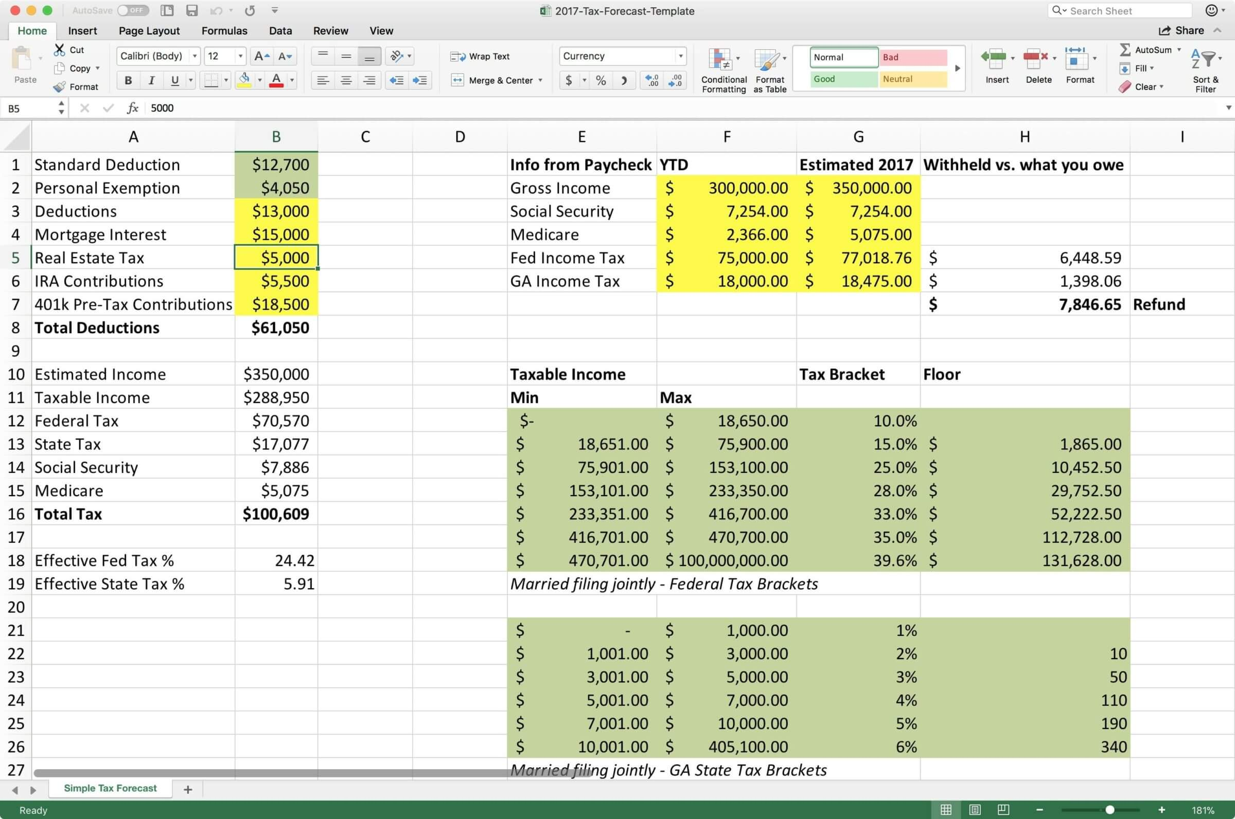 How to estimate your taxes using Excel