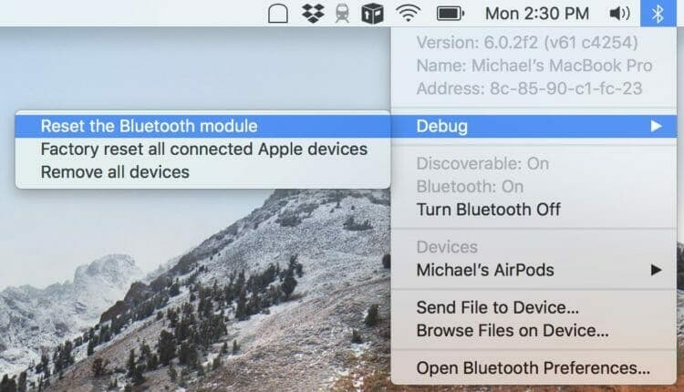Reset the Bluetooth module - Mac Bluetooth issues