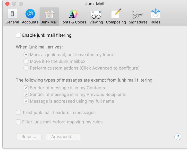 Apple Mail: Junk Mail Preferences