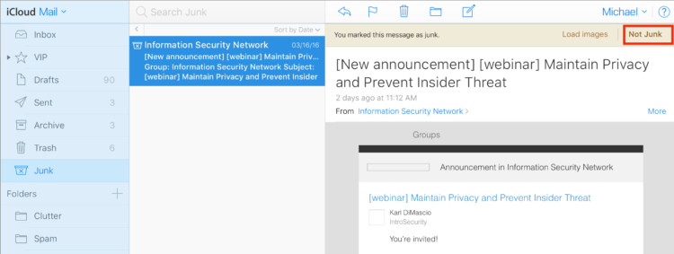iCloud.com Junk Mail Filter