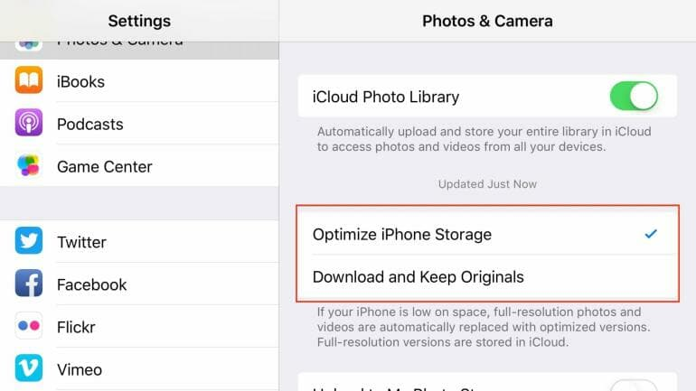 iCloud Photo Library: Do not delete photos from an iPhone to free up space