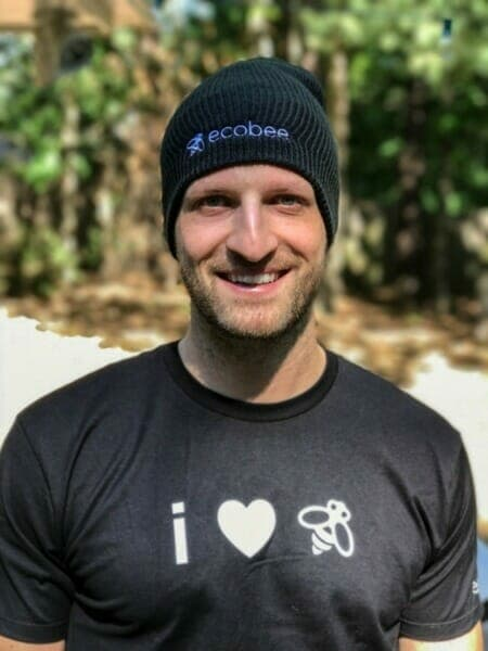 Michael wearing the ecobee shirt