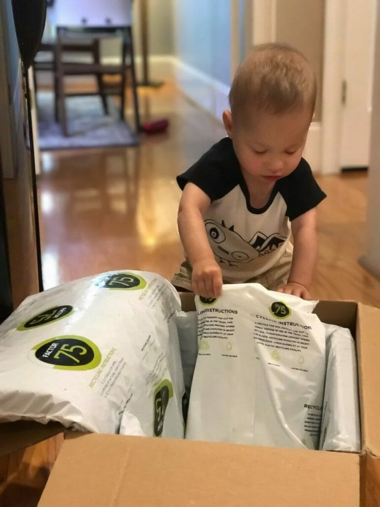 Factor 75 - my son Lucas digging into the delivery box