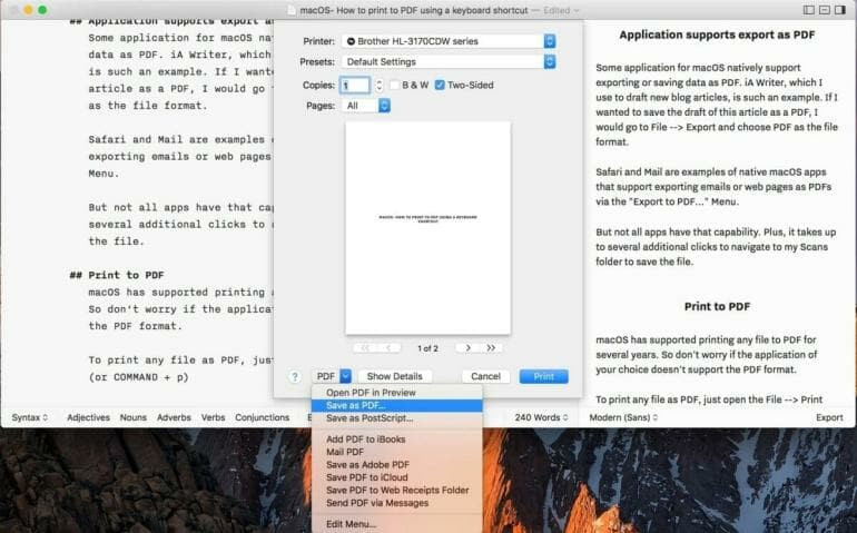macOS: How to print to PDF via keyboard shortcut from any application