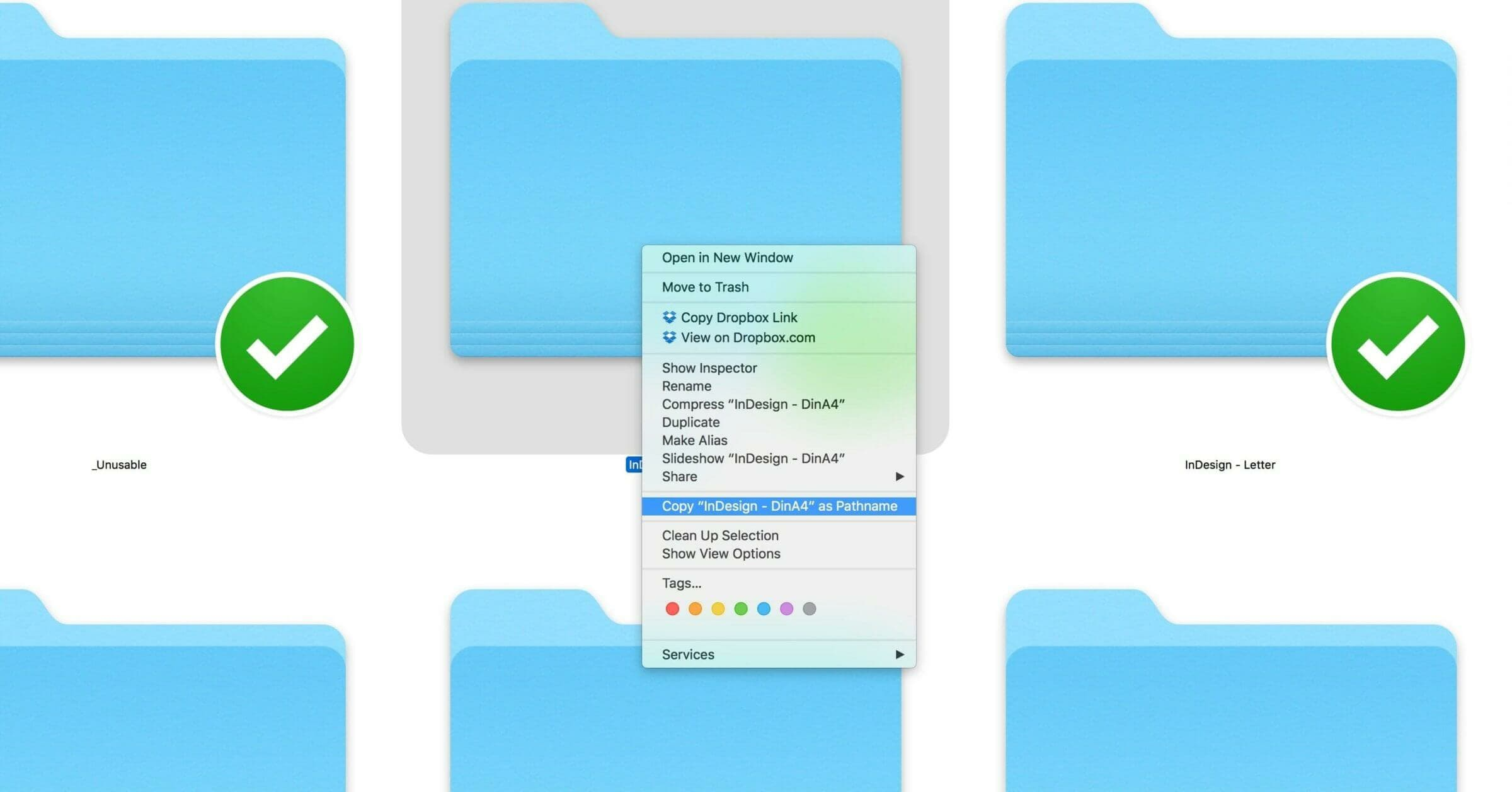 How to copy the path of any file or folder in Finder (macOS)