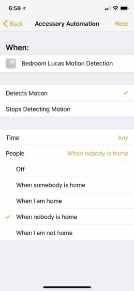 Automation workflow based on motion detection