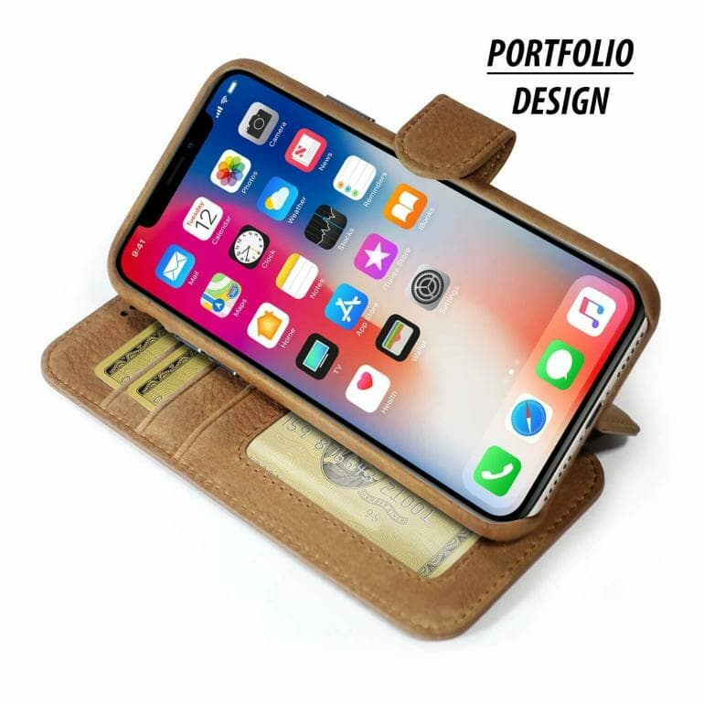 Burkley Leather Wallet Folio Case can prop up the iPhone for making FaceTime calls
