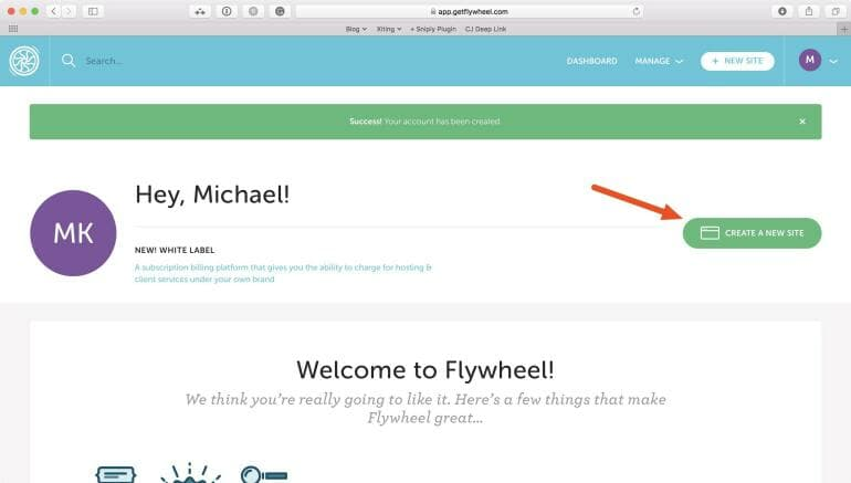 Flywheel - Create a new site