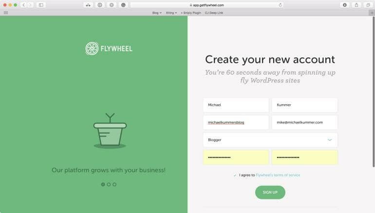 Flywheel - Create a new account