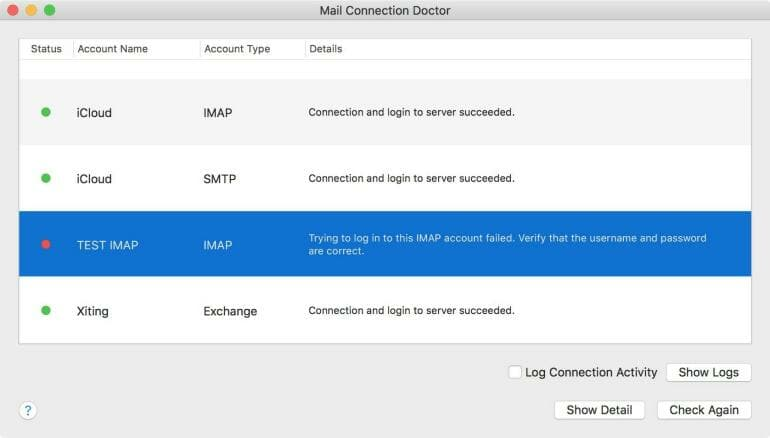 Apple Mail Connection Doctor