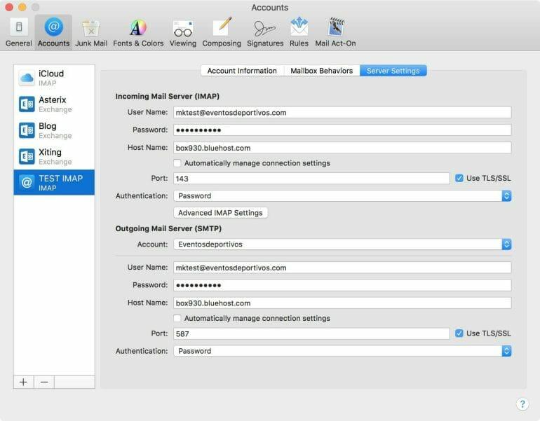 Apple Mail IMAP mail server settings