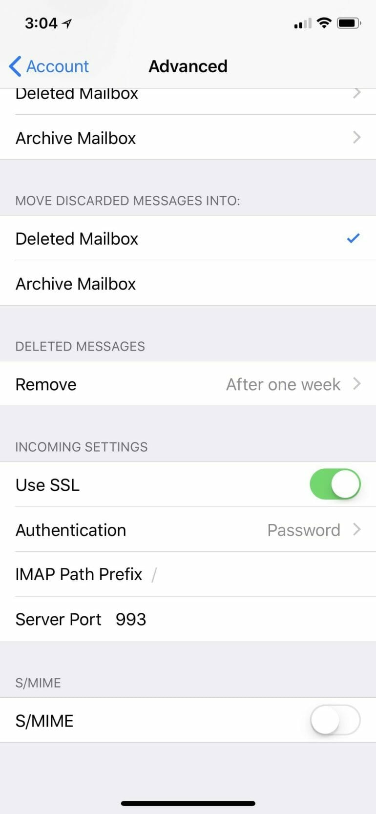 iOS email account settings for incoming (IMAP) mail server