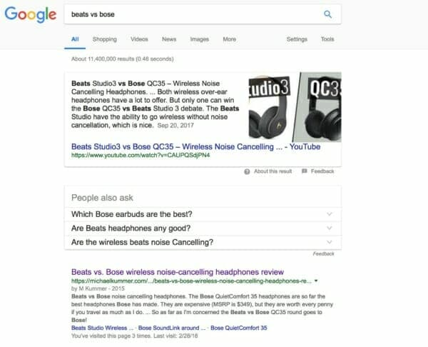 "My ""Beats vs Bose"" article ranks top on Google"