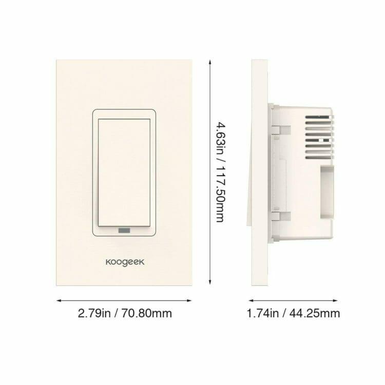Koogeek Smart WiFi Light Switch - KH01 dimensions