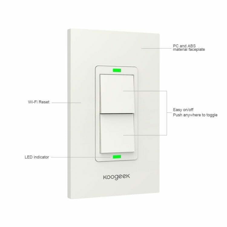 Koogeek Smart WiFi 2-Gang Light Switch - KH02