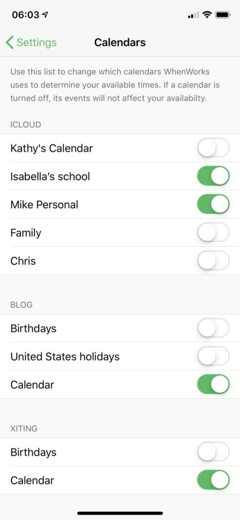 WhenWorks: Calendars Affecting Availability