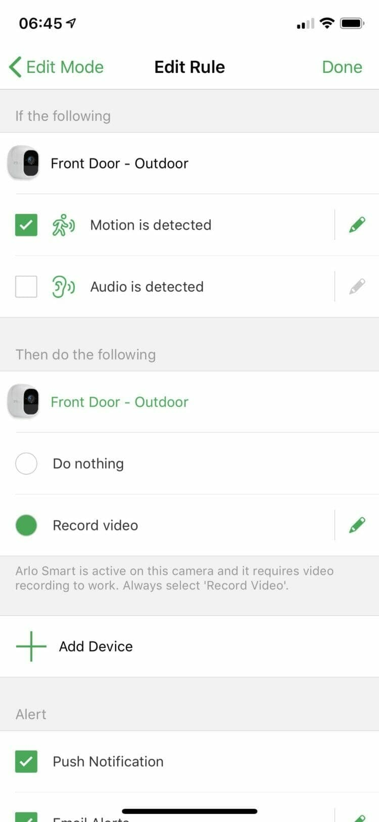 Arlo app - Custom Rules