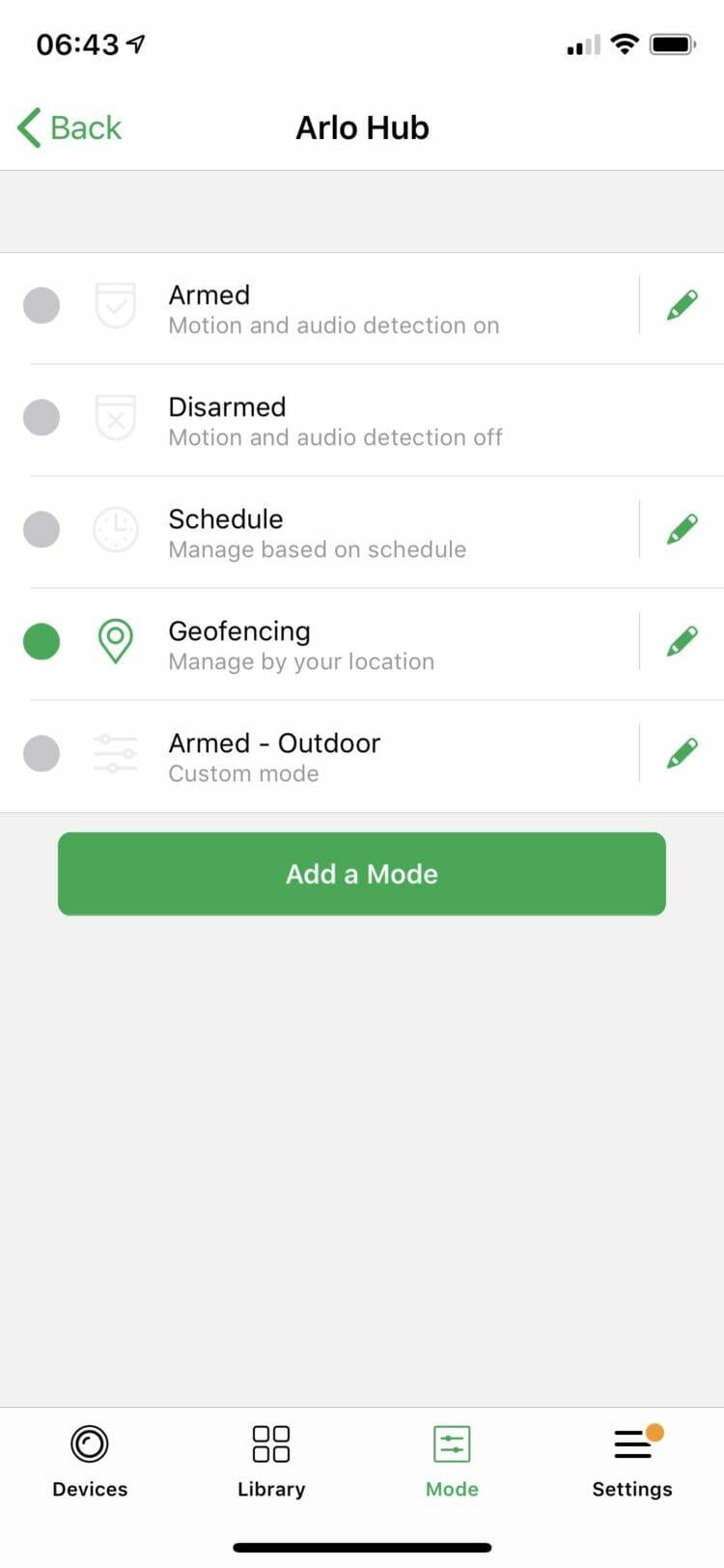 Arlo app - Modes