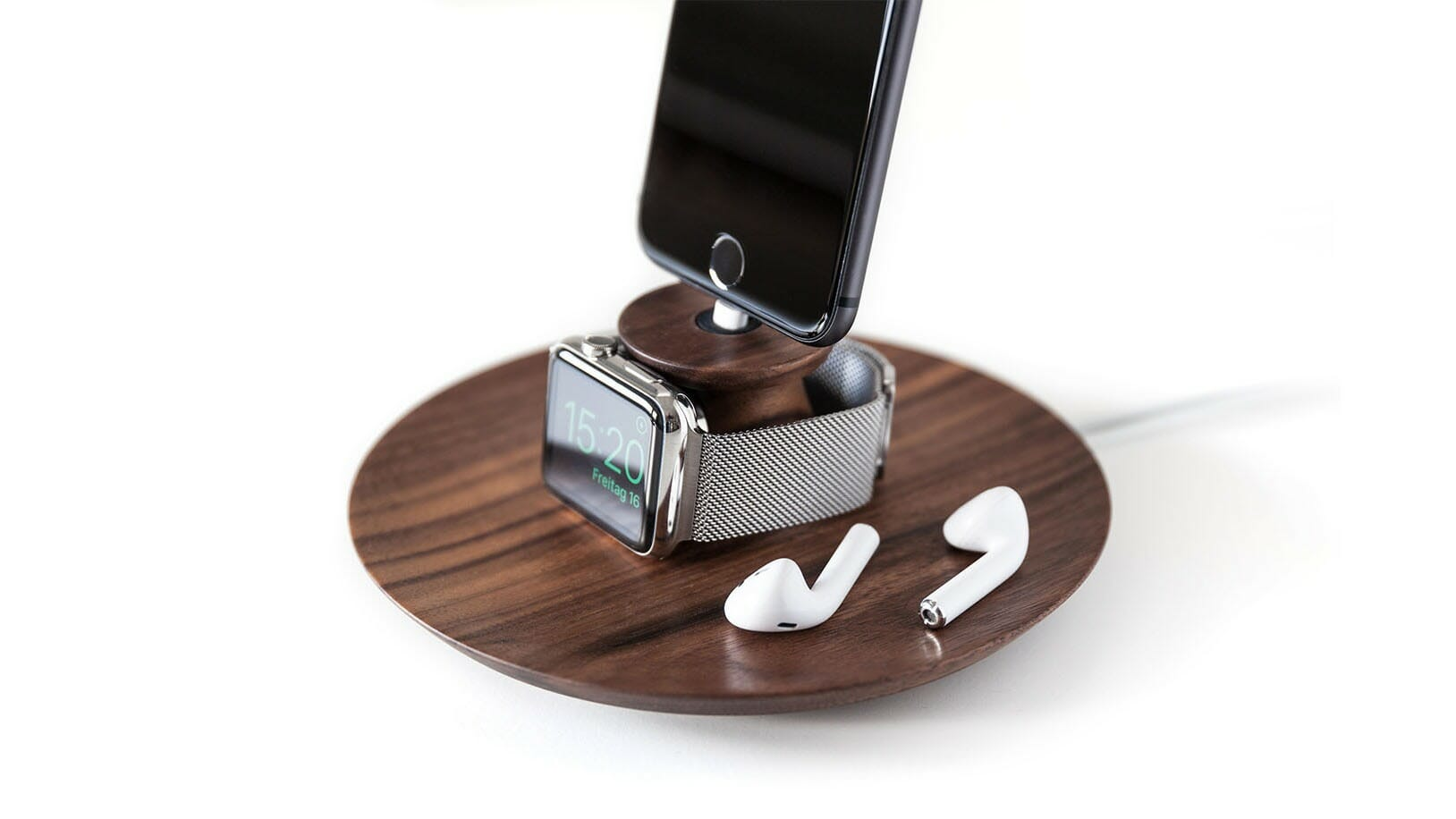 Wooden iPhone & Apple Watch Stand by Yohann
