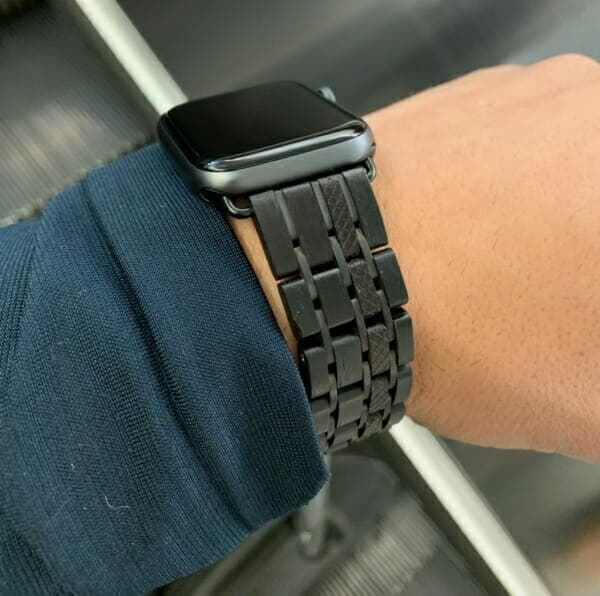 Ebony Wooden Apple Watch Band on my wrist