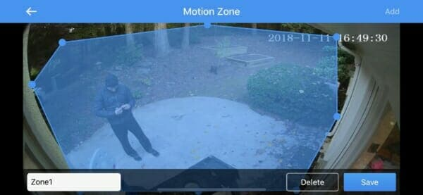 SENS8 Light Cam - Custom Motion Zone