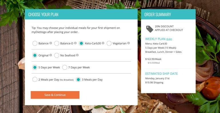 Diet-To-Go Pricing with a 20% off promo for new customers