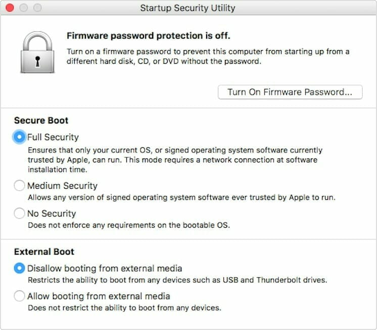 MacOS Startup Security Utility