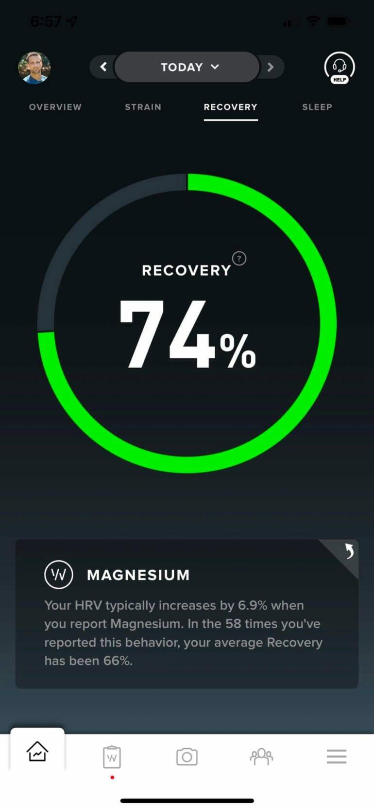 Magnesium influences my Recovery score