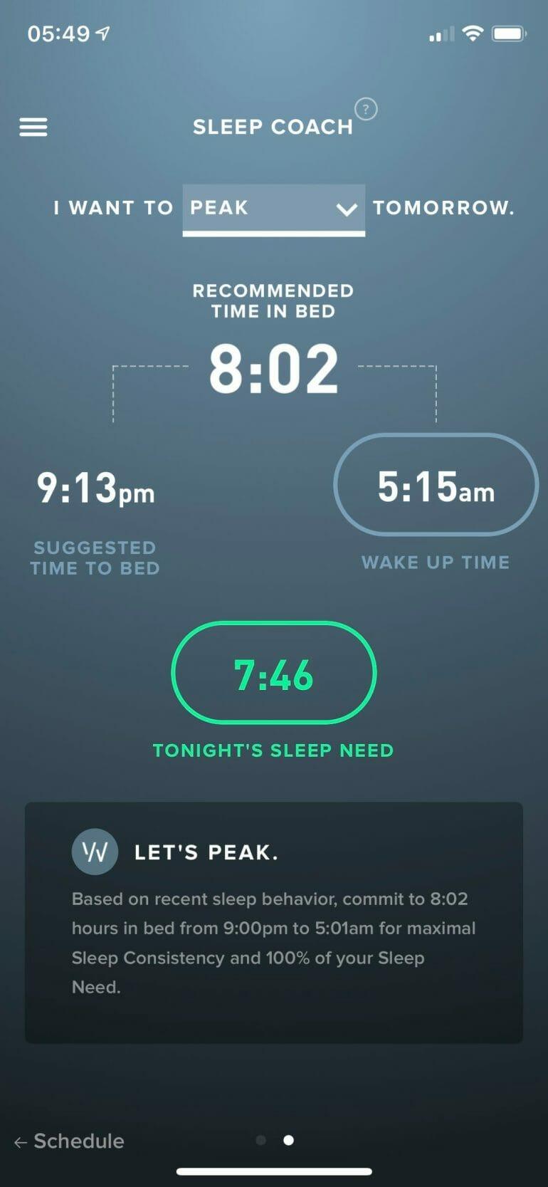 WHOOP App Sleep Coach