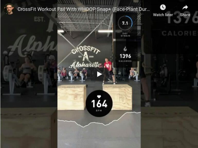 WHOOP Snap+ video showing how I face-planted while doing box jumps