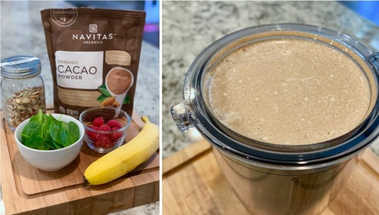 Naked Meal Shake with cocoa powder, banana, raspberries, almonds, and spinach