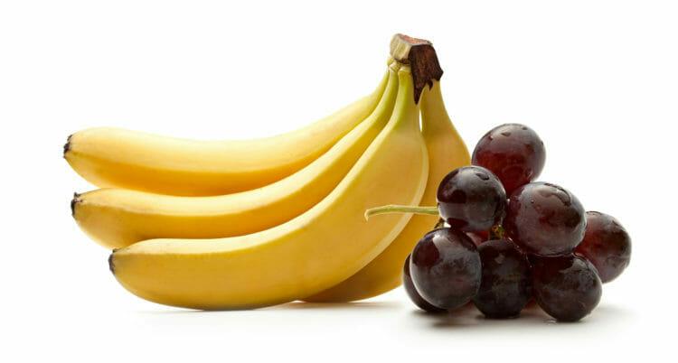 Bananas and grapes