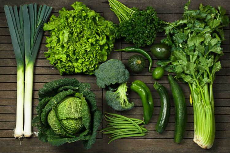 Leafy greens and other nutritious vegetables.
