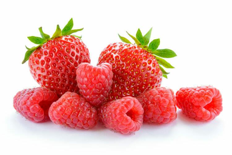 Raspberries and strawberries.