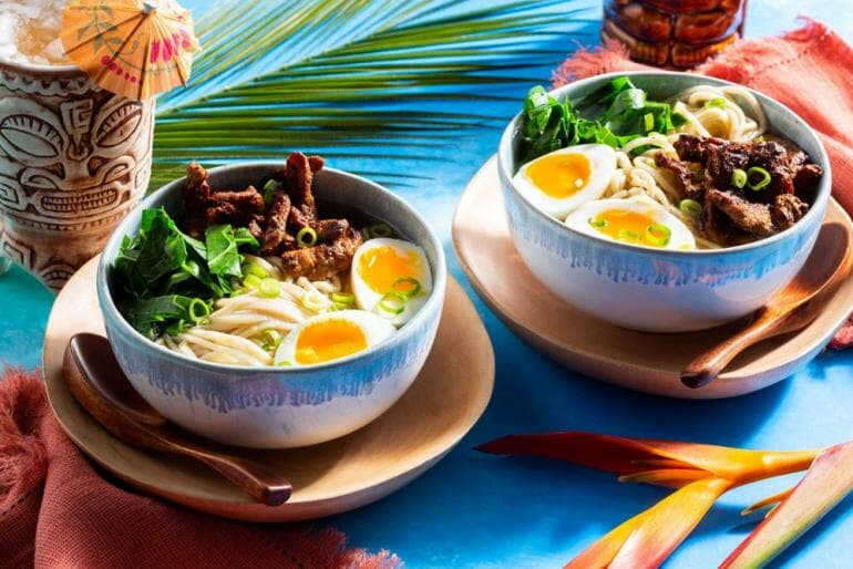 Sun Basket: Saimin noodle soup with char siu pork and soft-cooked eggs