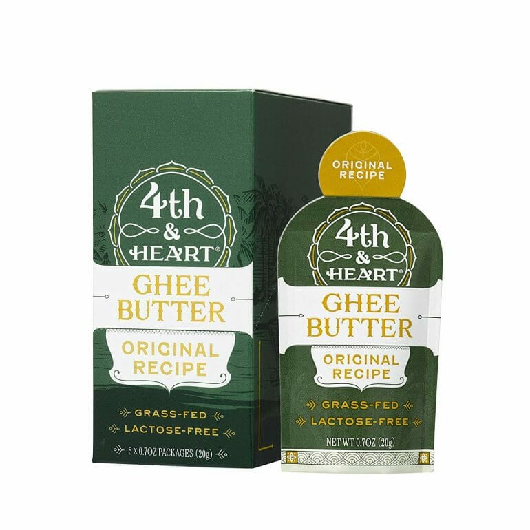 Original Grass-Fed Ghee Butter by 4th & Heart, On-the-Go Single Serving 5-Count, Pasture Raised, Non-GMO, Lactose Free, Certified Paleo, Keto-Friendly