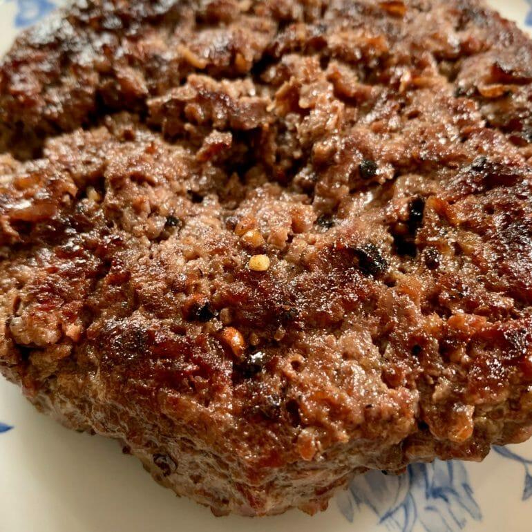 Irish beef patty (stripped hamburger)