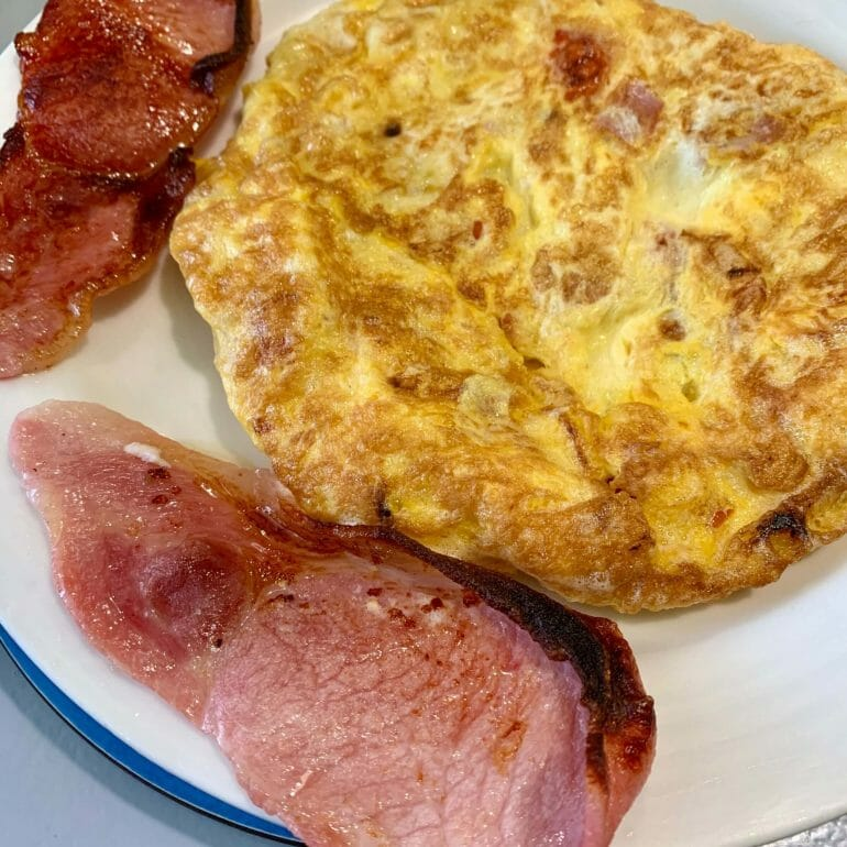 Egg omelette with Irish bacon