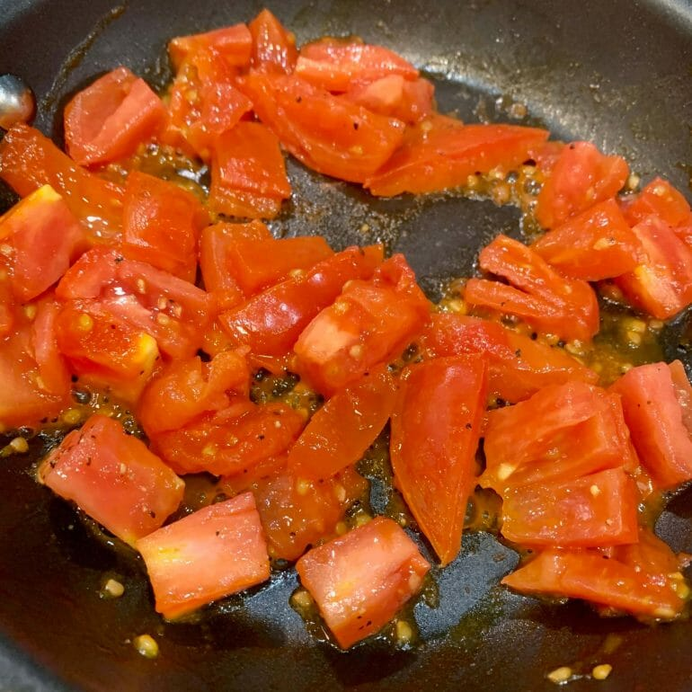 Fried, diced tomatoes