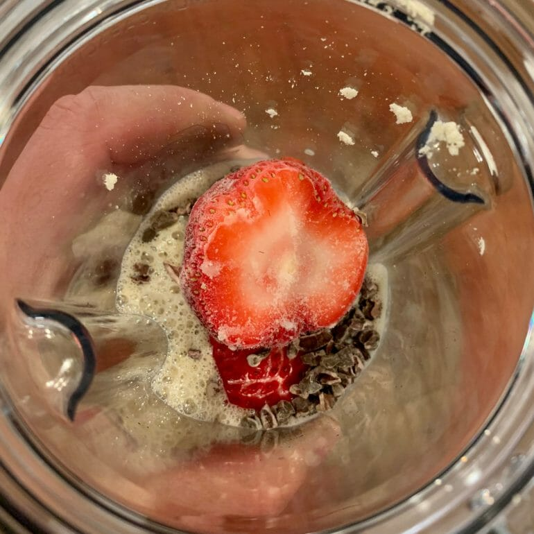 Keto meal replacement shake with strawberries and chocolate nips