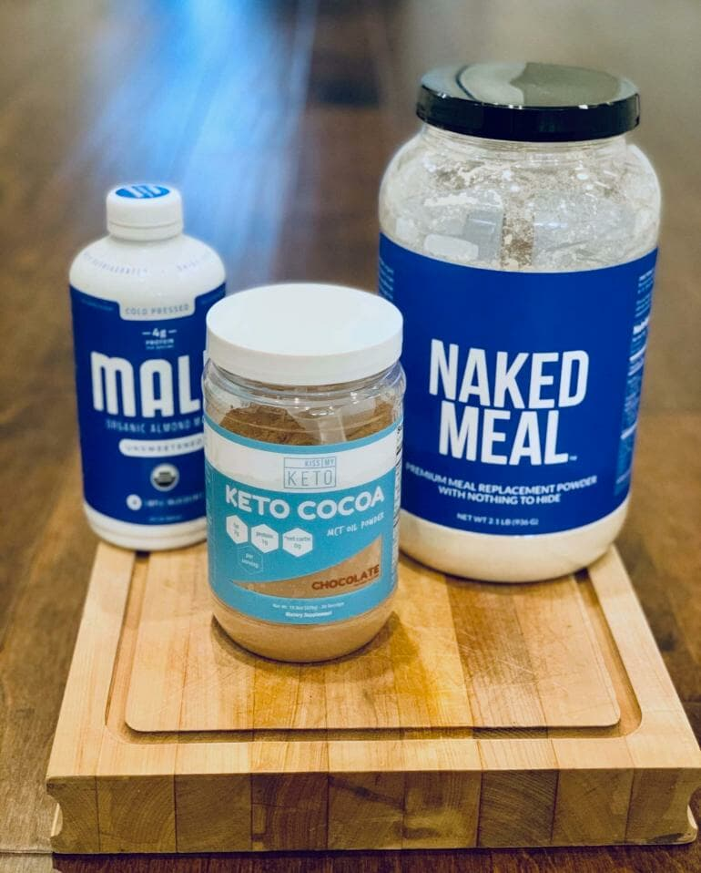 Simple ingredients: Naked Meal, Keto Cocoa and Almond Milk