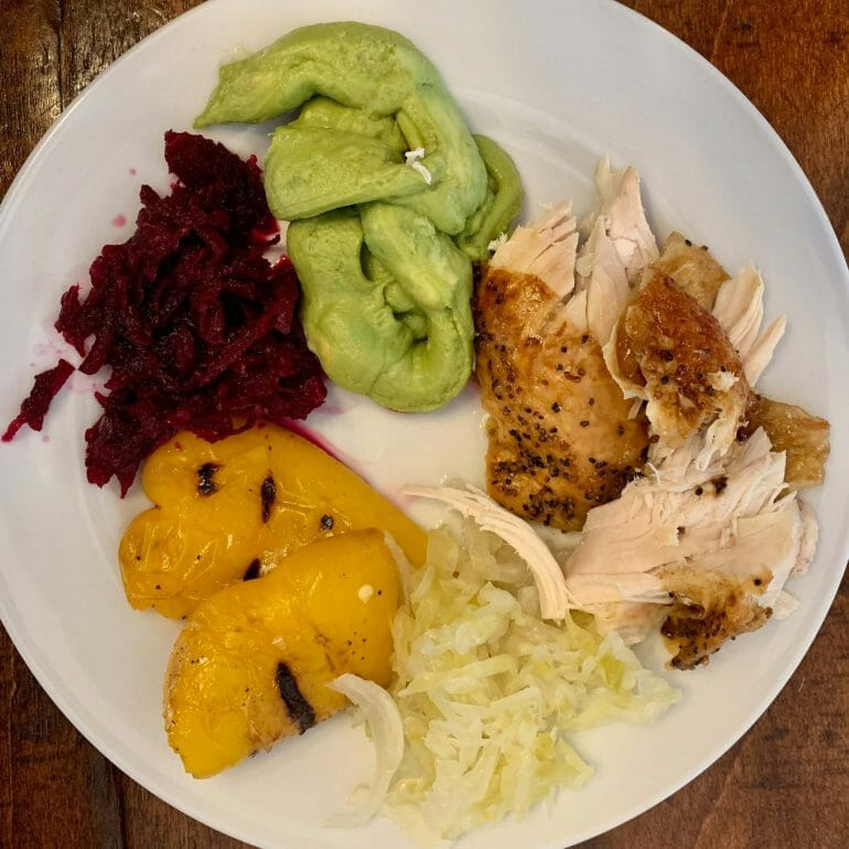 Organic rotisserie chicken (Whole Foods) with grilled peppers, fermented red beets, sauerkraut and guacamole (Costco)