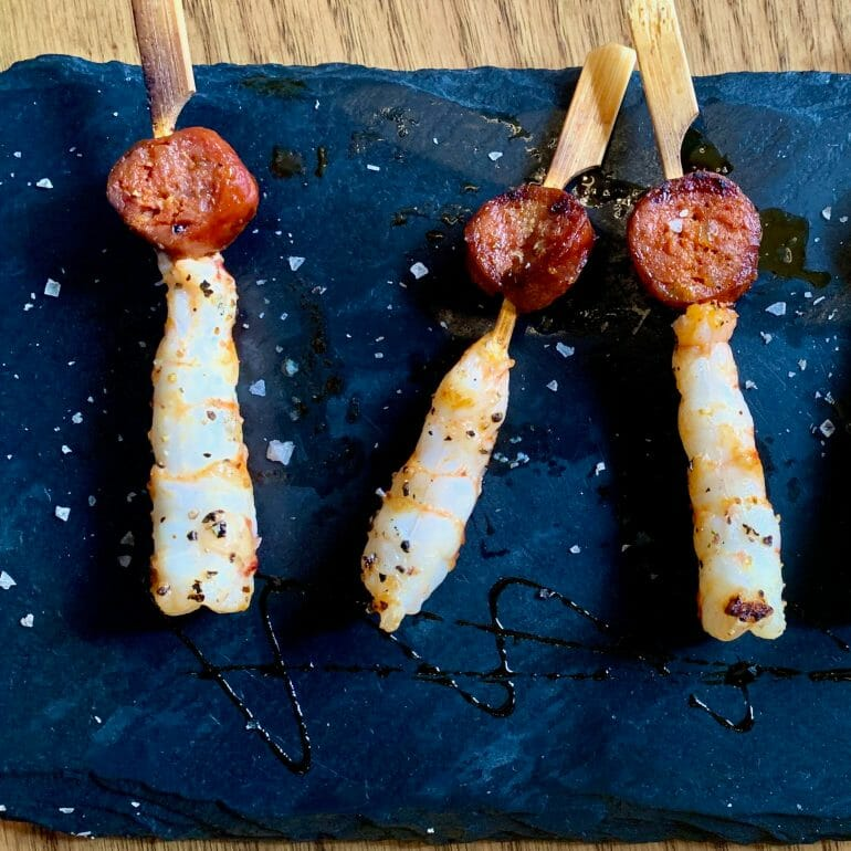 Shrimp and sausage skewers